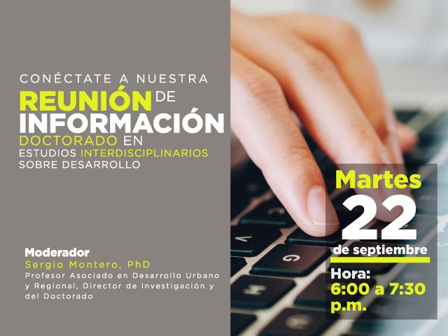 Reunión virtual de información del Doctorado en Estudios Interdisciplinarios sobre Desarrollo 22 sep - Cider | Uniandes
