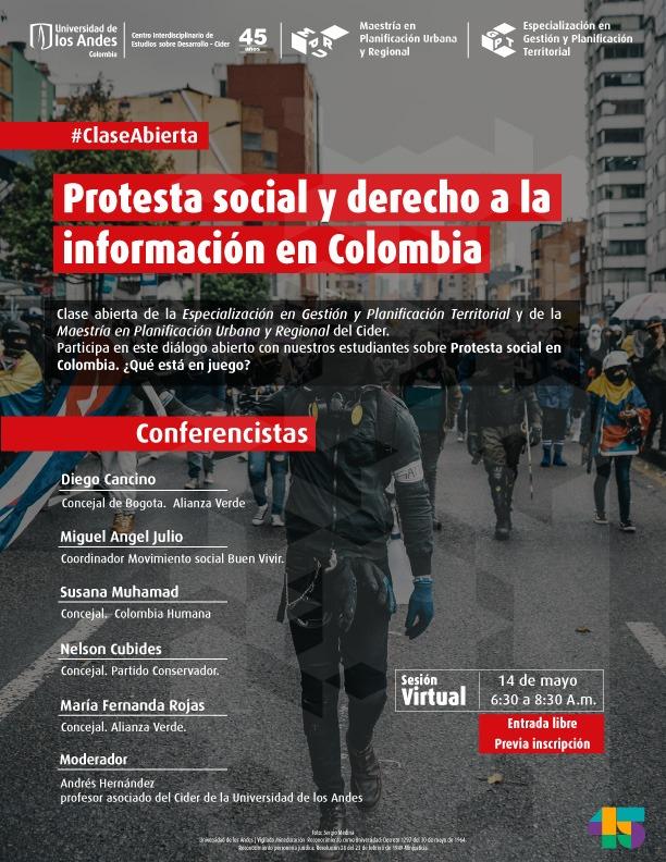 Andrés Hernández organizó clase abierta Protesta social y derecho a la información en Colombia Cider | Uniandes