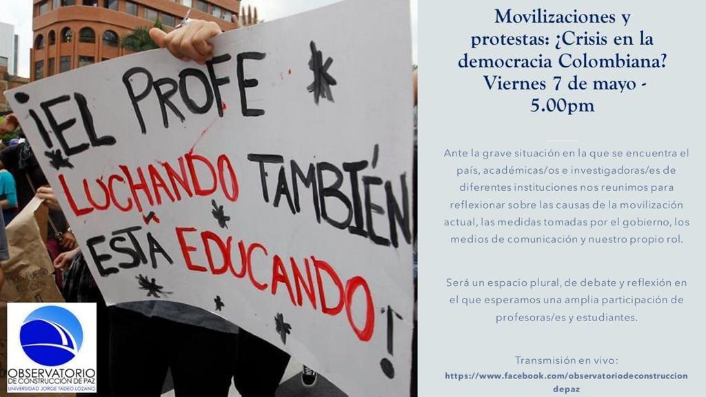 Diana Gómez participó en evento Movilizaciones y protestas: ¿Crisis en la democracia colombiana? Cider | Uniandes
