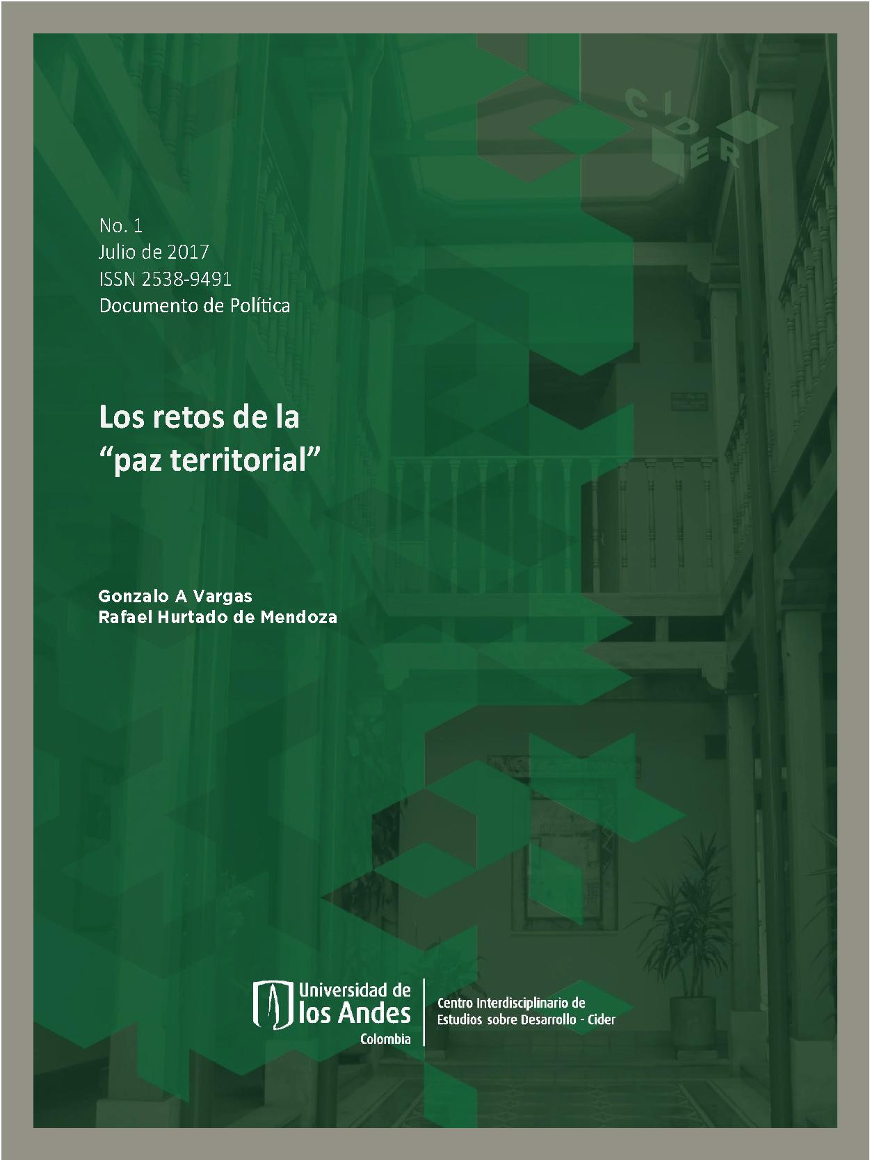 """Documento de política Los retos de """"La paz territorial"""""""